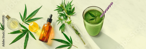 Fototapeta Concept edibles CBD and drinks with cannabis . Glasses with fresh beverage, smoothies, with hemp. Flat lay Banner obraz