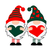 Two Gnomes With Hearts Vector ...