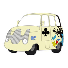 Funny Car Vector Illustration Isolated