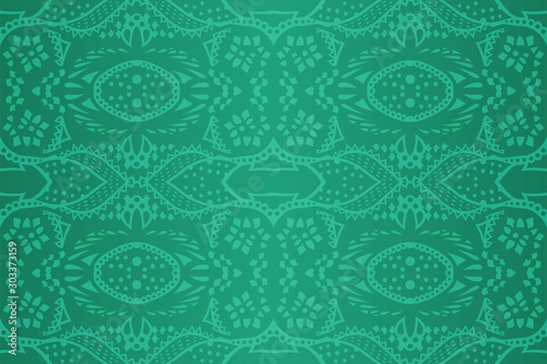 Carta da parati  Shiny green art with abstract seamless pattern