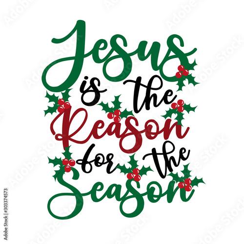 Cuadros en Lienzo  Jesus is the reason for the season - Calligraphy text, with mistletoe