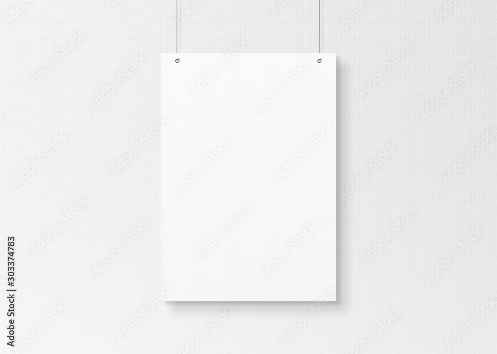 Fototapeta White poster isolated hanging by strings on wall mockup 3D rendering