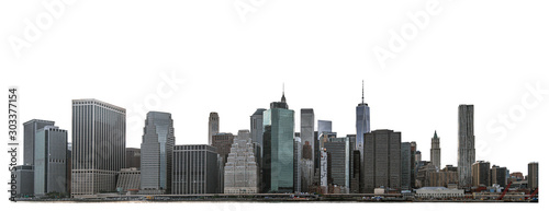 Obraz One World Trade Center and skyscraper, high-rise building in Lower Manhattan, New York City, isolated white background with clipping path - fototapety do salonu