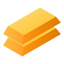 Gold Bar Stack Icon. Isometric Of Gold Bar Stack Vector Icon For Web Design Isolated On White Background