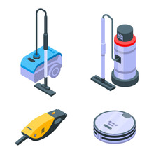 Vacuum Cleaner Icons Set. Isometric Set Of Vacuum Cleaner Vector Icons For Web Design Isolated On White Background