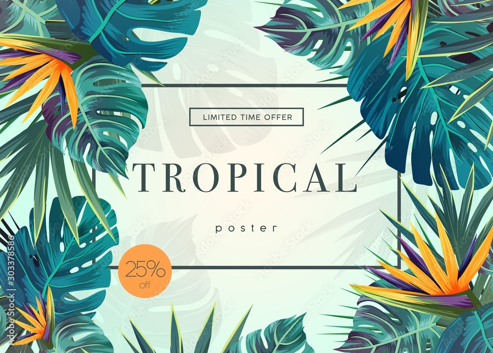 Fototapety, obrazy: Bright tropical background with jungle plants. Exotic pattern with tropical leaves
