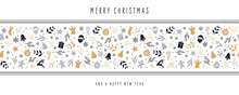 Christmas Icon Elements Border Decoration Card With Greeting Text Seamless Pattern White Background.