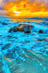 Fototapeta Morze sunset at the North Shore of Oahu, Hawaii