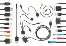 Cable Wire Set Vector Isolated...