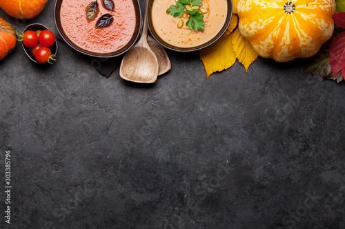 fototapeta na szkło Tomato and pumpkin soup