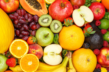 Fruits background food collection pattern apples oranges grapes fruit