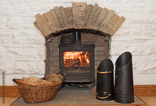 Fotografía Thanks giving warmth and comfort; heating a home with traditional methods