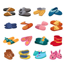 House Slipper Cartoon Vector Set Icon. Isolated Cartoon Icon Slipper And Shoes.Vector Illustration Summer And Spa Shoe.