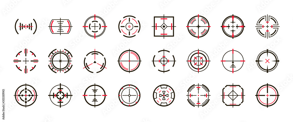 Fototapeta Sniper sight vector black set icon. Vector illustration sight and target. Isolated black icon eye target on white background .