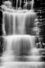 Panel SzklanyThe Alpine waterfall, black and white photography
