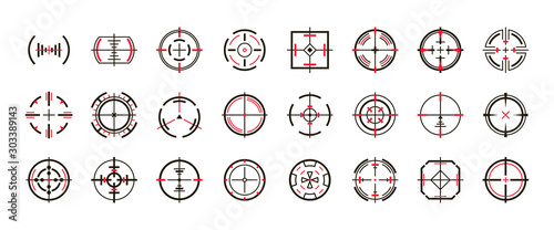 Fotomural  Sniper sight vector black set icon