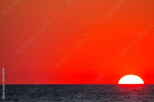 Foto auf AluDibond Rot Ionian sea , red sunset, Salento, Italy