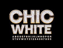 Vector Chic White Font. Stylis...