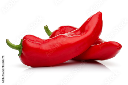 Papel de parede Fresh red peppers isolated on white background