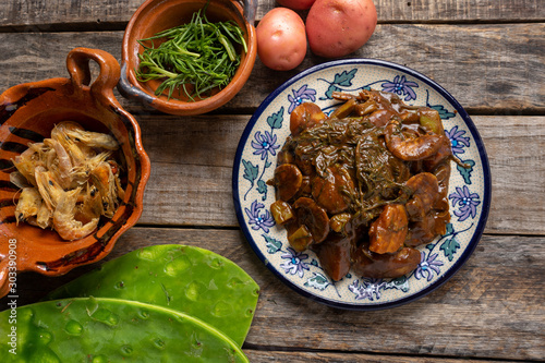Canvas Prints Hot chili peppers Mexican rosemary with mole sauce and dried shrimps also called