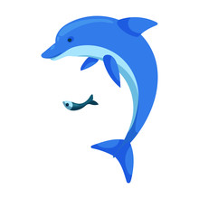 Dolphin Vector Icon.Cartoon Ve...