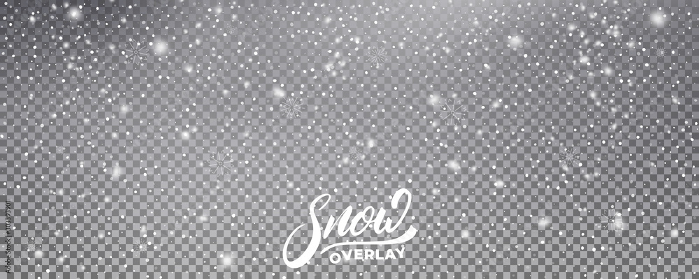 Fototapety, obrazy: Snow. Realistic snow overlay background. Winter Christmas and New Year snow decoration