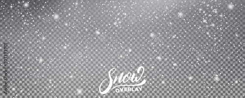 Snow. Realistic snow overlay background. Winter Christmas and New Year snow decoration - 303393901