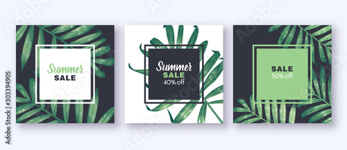 Summer sale banner with tropical foliage - palm leaves, on dark and white background. Can be used as greeting, invitation card, template design, cover, party, advertisement. Square card templates.
