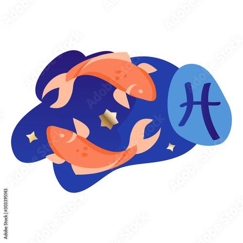 Vászonkép Pisces Modern Zodiac Icon