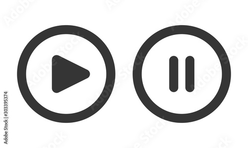 Photo Play and pause buttons - vector illustration.