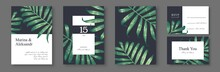 Tropical, Trendy, Greeting Or Invitation Card, Template Design With Palm Leaves. Green Foliage In Realistic Style With High Details. Set Of Poster, Flyer Brochure, Cover, Party Advertisement.