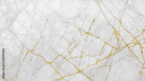 Fotografiet  White gold marble texture pattern background with high resolution design for cov