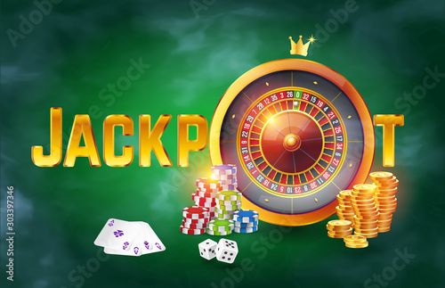 Fotografía  The word gold Jackpot surrounded by roulette