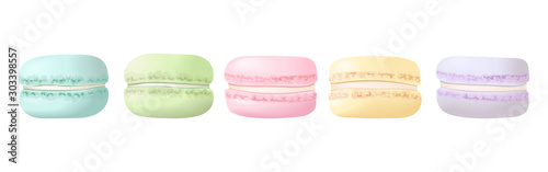 Delisious macaroons in a row set Poster Mural XXL