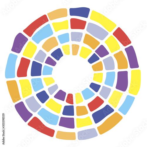 Colorful segmented concentric circles symbol. Suitable for logo or background design. Random colors brick tiles round figure.