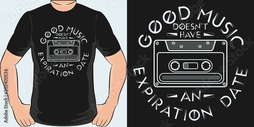 Unique and Trendy Good Music Doesn't Have An Expiration Date T-Shirt Design or Mockup Canvas Print