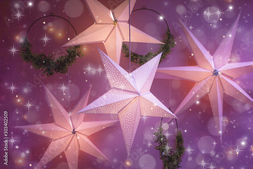 Fototapeta Gwiazdki  merry-christmas-colorful-lights-happy-new-year-festive-decoration-garland-in-the-form-of