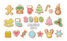 Christmas Gingerbread Cookies Set. 2020 New Year Numbers. Colorful Cartoon Decorative Elements For Kids. Vector