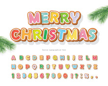 Christmas Gingerbread Cookie Font. Bisquit Traditional Decorative Alphabet. Hand Drawn Cartoon Colorful Letters, Numbers And Symbols For Holidays Design. Vector
