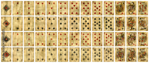 Vászonkép Full set of Vintage playing cards isolated on white background - High quality