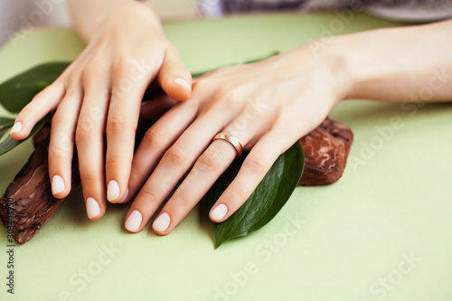 Obraz pretty perfect woman hands with white manicure and green leaf on colorful background with wood, spa cosmetic concept - fototapety do salonu