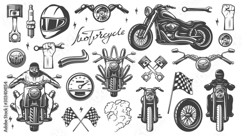 Foto  Motorcycle chopper, front and side, motorcycle driver, monochrome icon set with objects and attributes of motorbike, vector illustration