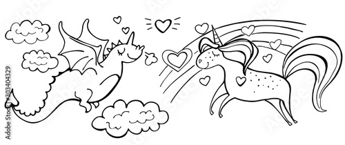 Hand drawn magic cute unicorn, rainbow, heart and dragon isolated on white. Couple in love. Vector illustration. Perfect for print, coloring book, greeting card.