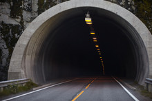 Mountain Road In Norway, Tunnel Entrance