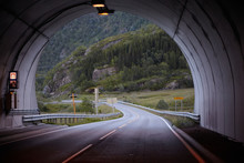 Mountain Road In Norway, Exit From The Tunnel
