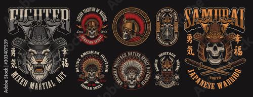 Fototapeta Set of designs with skulls in different headgear obraz