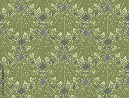 Art nouveau seamless pattern in green colors. Vintage elegant background Fototapete