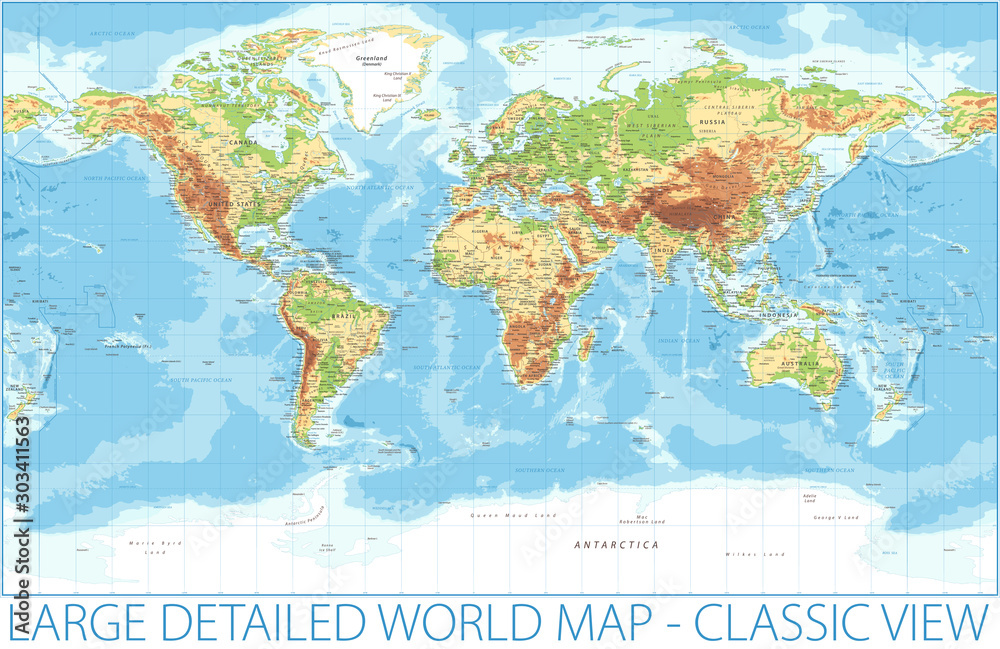 Fototapeta World Map - Physical Topographic - Vector Detailed Illustration