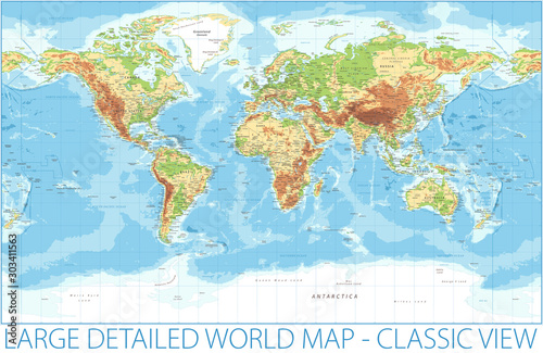 World Map - Physical Topographic - Vector Detailed Illustration Canvas Print