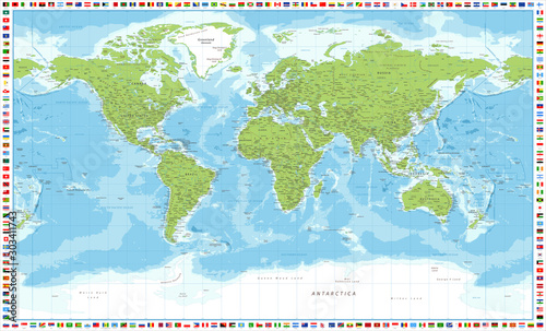 Pinturas sobre lienzo  World Map and Flags - Vector Detailed Illustration
